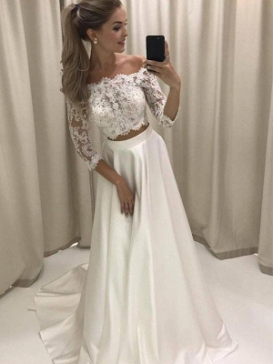 Court Train Applique A-Line Off-the-Shoulder Satin 3/4 Sleeves Wedding Dresses UK_3