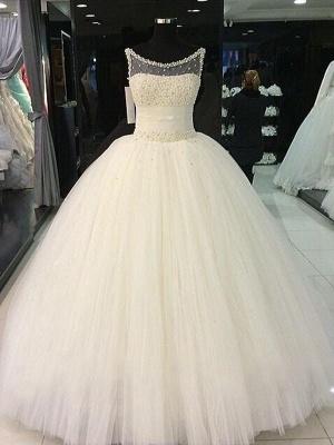 Floor-Length Tulle Cheap Ball Gown Beads Scoop Neckline Sleeveless Wedding Dresses UK_1