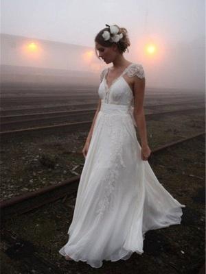 A-Line Sleeveless V-neck Floor-Length Lace Wedding Dresses UK_1