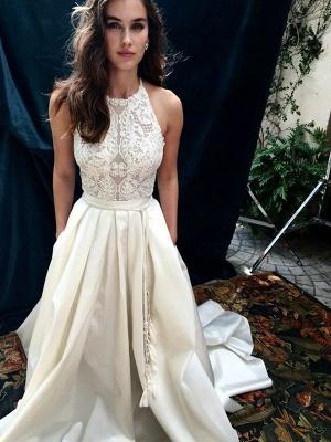 Sleeveless Halter A-Line Lace Sweep Train Satin Wedding Dresses UK_1