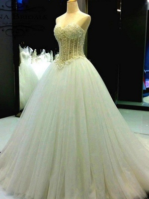 Tulle Cheap Ball Gown Sleeveless Sweetheart Court Train Beads Wedding Dresses UK_4