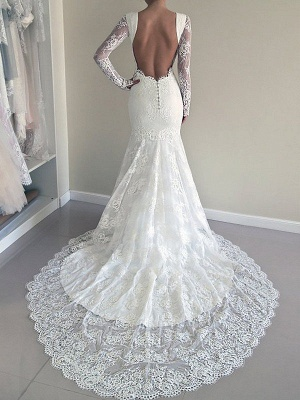Long Sleeves Lace Sexy Mermaid Court Train Scoop Neckline Wedding Dresses UK_3