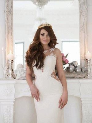 Sexy Mermaid Sweep Train Applique Lace Sleeveless Scoop Neckline Wedding Dresses UK_4