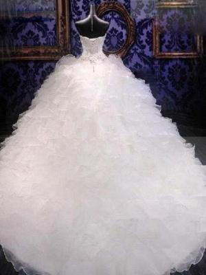 Sweetheart Sleeveless Organza  Beads Sequin Ball Gown Wedding Dresses UK_3