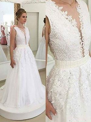 Sleeveless Tulle A-Line  V-Neck Sweep Train Applique Wedding Dresses UK_1