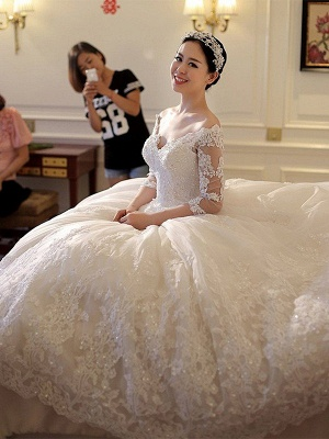 Tulle Ball Gown 3/4 Sleeves Beads Applique Cathedral Train Off-the-Shoulder Wedding Dresses UK_3