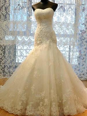 Applique Court Train Sexy Mermaid Sweetheart Tulle Sleeveless Wedding Dresses UK_1