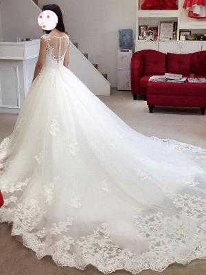 Court Train Sleeveless Tulle Cheap Ball Gown Bateau Applique Wedding Dresses UK_3