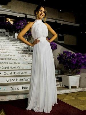 Floor-Length A-Line Sleeveless Halter Ruffles Tulle Wedding Dresses UK_6