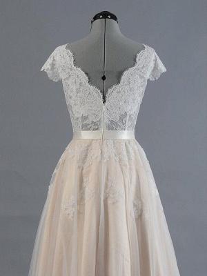 Sweep Train A-Line Sleeveless Applique Lace V-neck Wedding Dresses UK_5