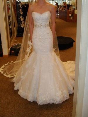 Lace Tulle Sexy Mermaid Sleeveless Court Train Sweetheart Ribbon Wedding Dresses UK_1
