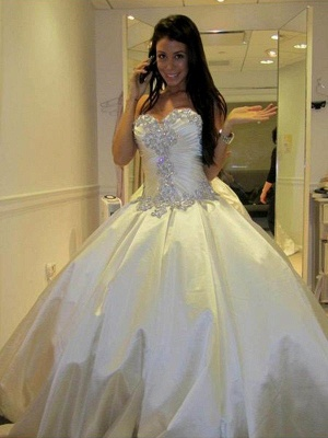 Cathedral Train Ruffles Ball Gown Sweetheart Taffeta Sleeveless Wedding Dresses UK_5