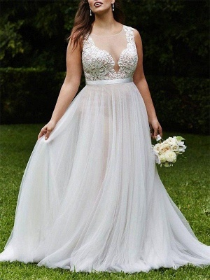 Sleeveless A-Line Court Train Lace Tulle Cheap Scoop Neckline Wedding Dresses UK_1