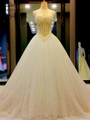 Tulle Cheap Ball Gown Sleeveless Sweetheart Court Train Beads Wedding Dresses UK_1