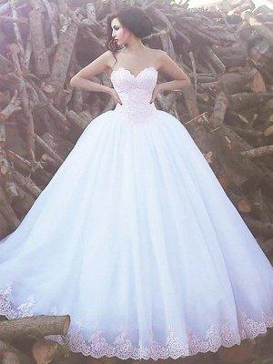 Sweetheart Organza Ball Gown Sweep Train Sleeveless Wedding Dresses UK_1