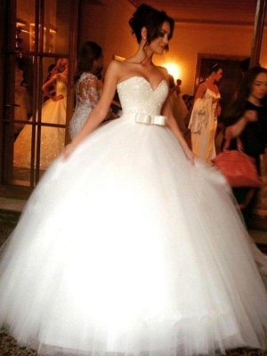 Bowknot Tulle Cheap Sleeveless Floor-Length Ball Gown Sweetheart Wedding Dresses UK_1