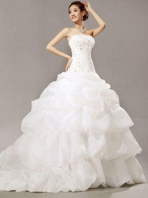 Cathedral Train Beads Ball Gown Strapless Organza Lace Pleats Sleeveless Wedding Dresses UK_1