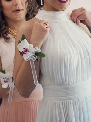 Floor-Length A-Line Sleeveless Halter Ruffles Tulle Wedding Dresses UK_4