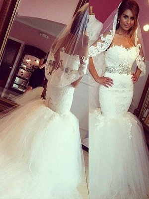 Sweetheart Court Train Sleeveless  Sexy Mermaid Lace Tulle Cheap Wedding Dresses UK_1