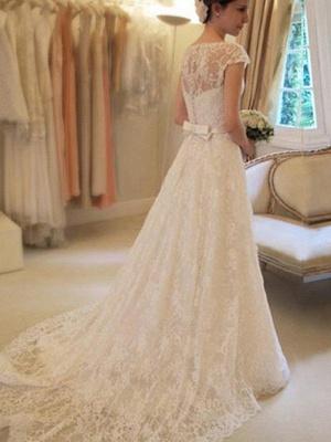 Court Train Applique A-Line Short Sleeves Square Lace Ribbon Wedding Dresses UK_3