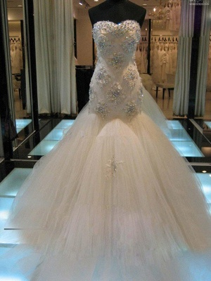 Court Train  Sexy Mermaid Beads Sleeveless Tulle Cheap Sweetheart Wedding Dresses UK_1