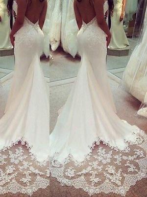 Sexy Mermaid Spaghetti Straps Applique Satin Court Train Sleeveless Wedding Dresses UK_3