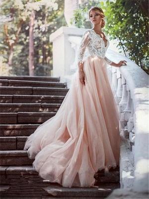V-neck Court Train Applique Tulle Cheap Ball Gown Long Sleeves Wedding Dresses UK_3