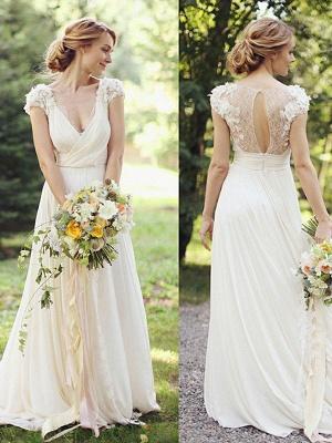 Floor-Length A-Line Ruched  V-neck Short Sleeves Wedding Dresses UK_1