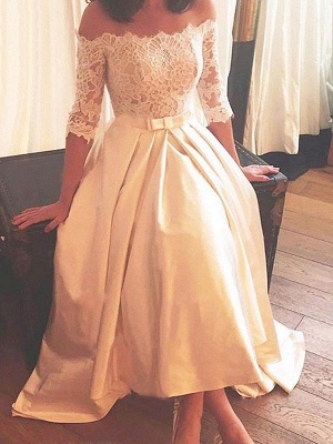 1/2 Sleeves Lace A-Line Asymmetrical Sweep Train Satin Off-the-Shoulder Wedding Dresses UK_1