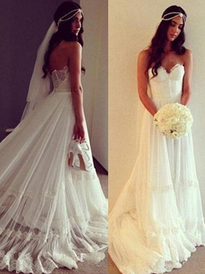 Court Train A-Line Sleeveless Sweetheart Lace Tulle Cheap Wedding Dresses UK_4