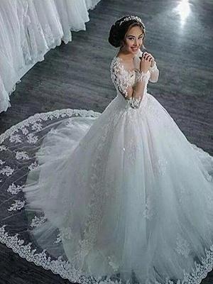 Scoop Neckline Applique Long Sleeves Ball Gown  Tulle Wedding Dresses UK_4