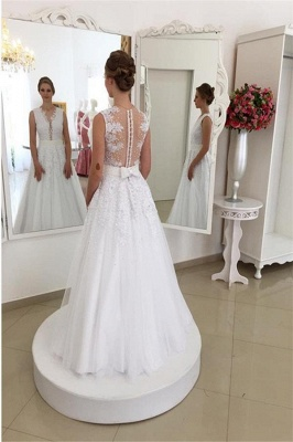 Sleeveless Tulle A-Line  V-Neck Sweep Train Applique Wedding Dresses UK_3