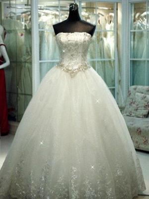 Floor-Length Tulle Cheap Ball Gown Beads Strapless Sleeveless Wedding Dresses UK_1