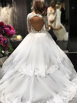 Lace Tulle Court Train Ball Gown Long Sleeves  V-Neck Wedding Dresses UK_3