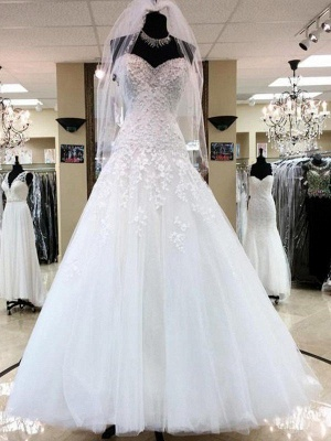 Floor-Length Applique Ball Gown Sweetheart Sleeveless Tulle Cheap Wedding Dresses UK_1