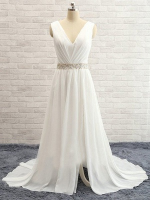 A-Line Sleeveless V-neck Sweep Train  Beads Wedding Dresses UK_4