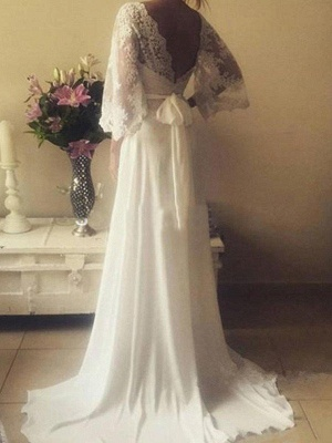 Ribbon Court Train A-Line Long Sleeves  V-Neck Lace Wedding Dresses UK_3