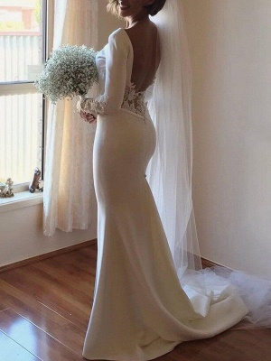 Lace Satin Long Sleeves Sexy Mermaid Scoop Neckline Court Train Wedding Dresses UK_3