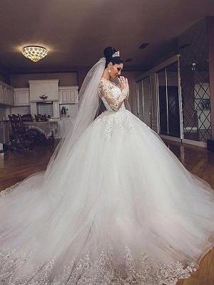 Ball Gown V-neck Long Sleeves Tulle Cheap Court Train Wedding Dresses UK_3