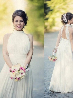Floor-Length A-Line Sleeveless Halter Ruffles Tulle Wedding Dresses UK_1