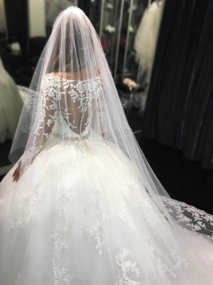 Lace Tulle Cheap Cathedral Train Applique Scoop Neckline Long Sleeves Ball Gown Wedding Dresses UK_4
