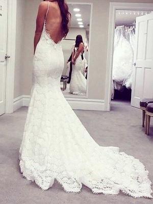Court Train Sleeveless Sexy Mermaid Lace Spaghetti Straps Wedding Dresses UK_3
