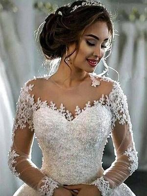 Scoop Neckline Applique Long Sleeves Ball Gown  Tulle Wedding Dresses UK_6