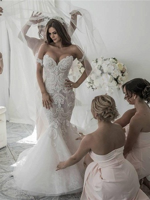 Off-the-Shoulder Sleeveless  Sexy Mermaid Tulle Cheap  Wedding Dresses UK_1