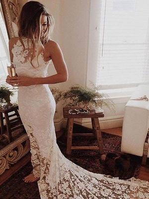 Lace  Sexy Mermaid Sleeveless Halter  Wedding Dresses UK_1