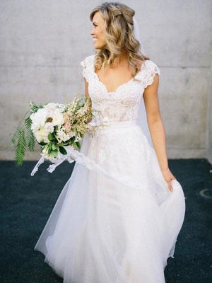 Lace Tulle Cheap A-Line V-neck Sleeveless Floor-Length Wedding Dresses UK_1