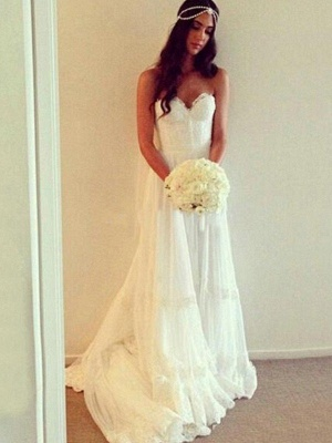 Court Train A-Line Sleeveless Sweetheart Lace Tulle Cheap Wedding Dresses UK_3