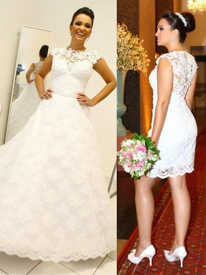 Lace Ball Gown Floor-Length Scoop Neckline Sleeveless Wedding Dresses UK_1