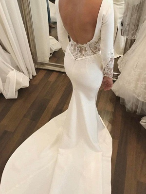 Lace Satin Long Sleeves Sexy Mermaid Scoop Neckline Court Train Wedding Dresses UK_4