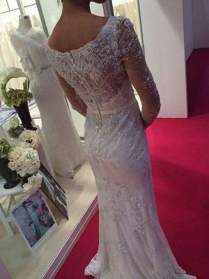 Sheath Lace Sweep Train Scoop Neckline Long Sleeves Wedding Dresses UK_3